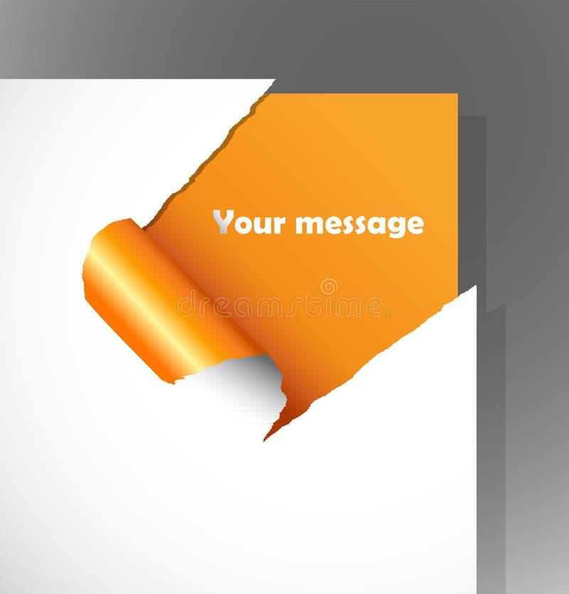 Papel rasgado con el texto en la esquina stock de ilustración