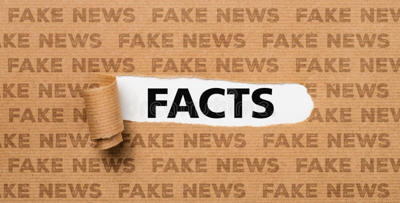Papel rasgado - fatos ou notícia da falsificação imagem de stock royalty free