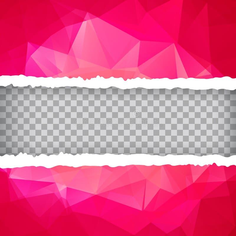 Papel rasgado poligonal triangular rosado abstracto stock de ilustración
