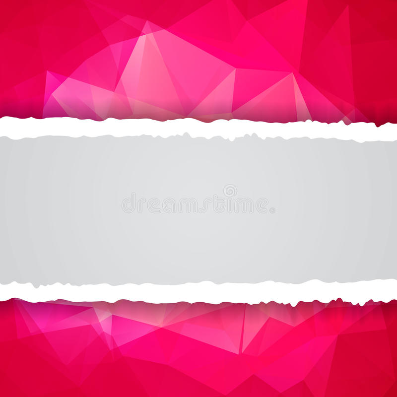 Papel rasgado poligonal triangular rosado abstracto ilustración del vector