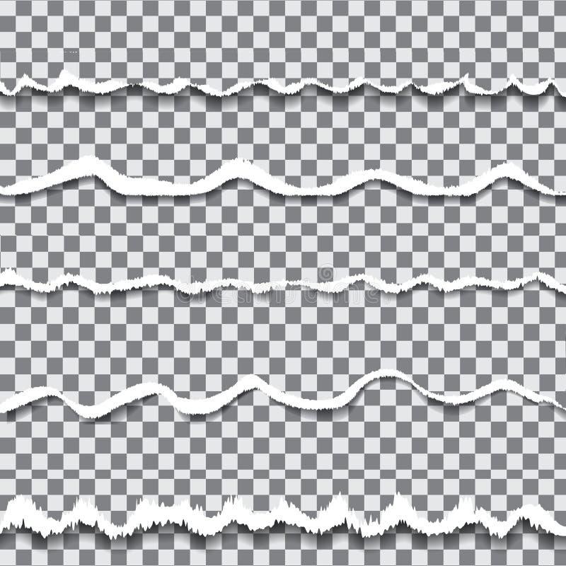 Papel rasgado transparente do vetor ilustração stock