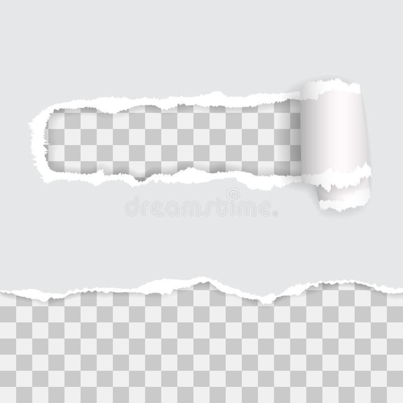 Papel rasgado transparente Ilustra??o do vetor com sombras imagens de stock royalty free