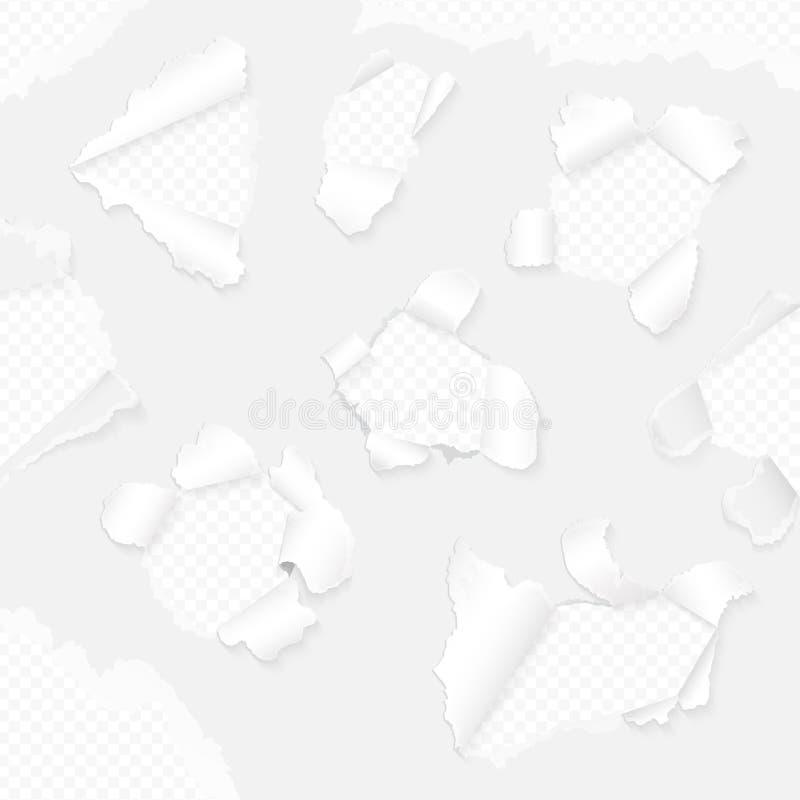 Papel realístico do vetor com coleção rasgada das bordas Grupo rasgado branco do papel ilustração stock