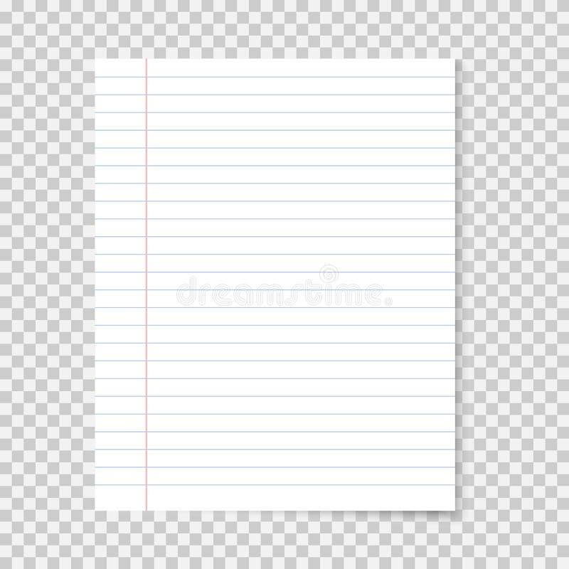 Papel realista del cuaderno de la escuela Hoja alineada fotos de archivo libres de regalías