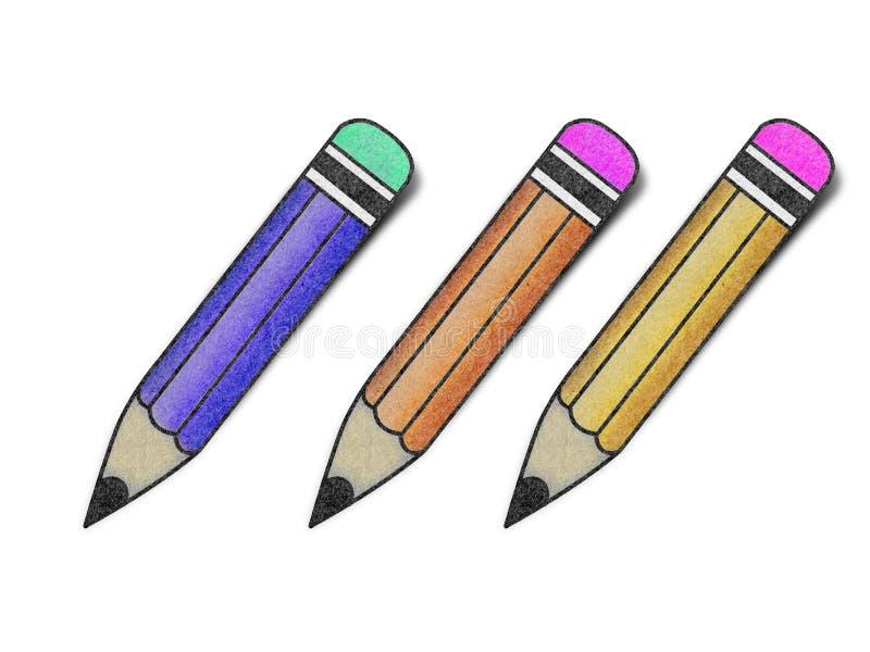 Papel recicl lápis imagens de stock royalty free