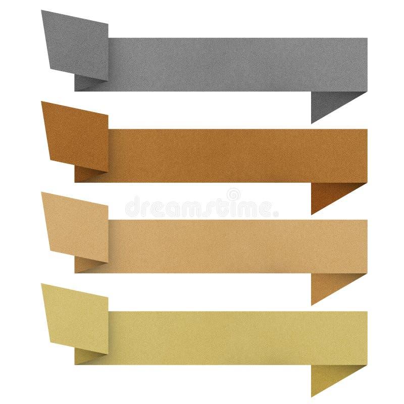 Papel recicl Tag do origami do encabeçamento. imagens de stock royalty free