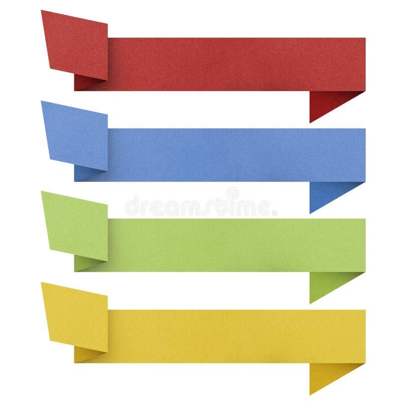 Papel reciclado etiqueta del origami de la cabecera. foto de archivo libre de regalías