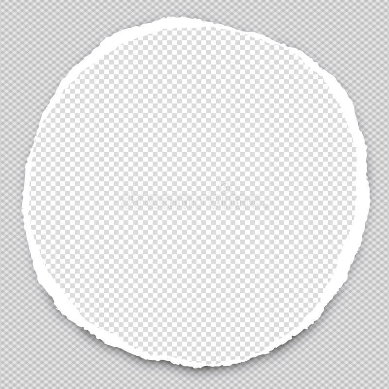 Papel redondo con los bordes rasgados en el centro del fondo ajustado Ilustración del vector libre illustration