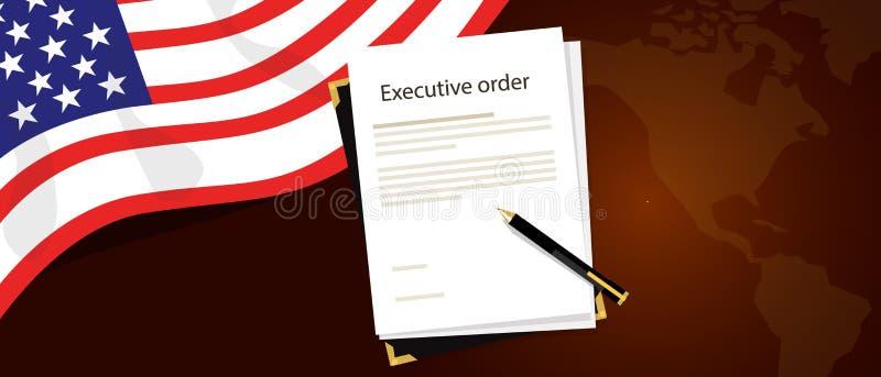 Papel regulamentar e pena da autoridade do presidente do decreto a ser assinados com bandeira do Estados Unidos e mapa de América ilustração royalty free