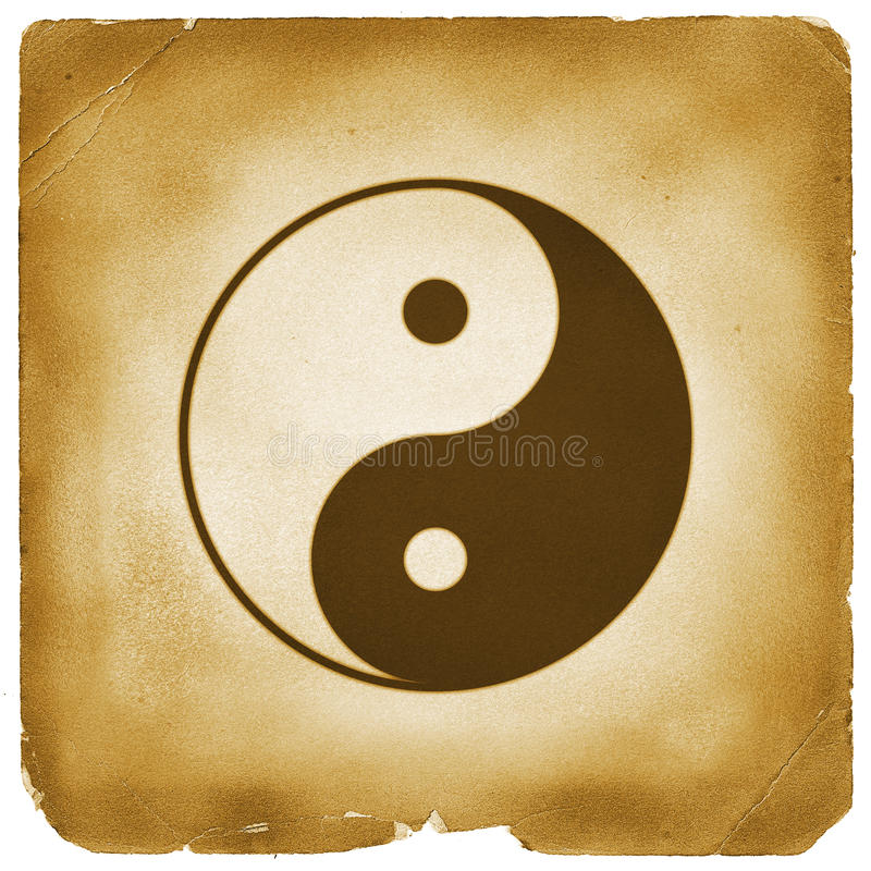 Papel resistido símbolo de Yin Yang ilustração royalty free