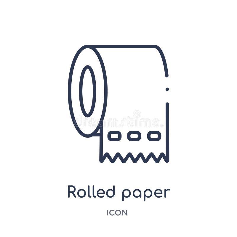 Papel rolado linear para o ícone do banheiro da coleção médica do esboço A linha fina rolou o papel para o ícone do banheiro isol ilustração royalty free