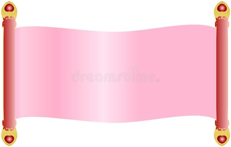 Papel rosa claro de la voluta con las manijas rojas de los pasadores adornadas con los extremos y las gemas de oro del cristal de libre illustration