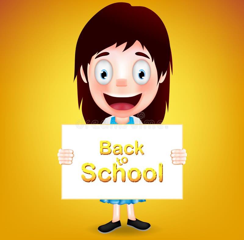 Papel sonriente de Character Holding White de la estudiante con de nuevo a la escuela libre illustration