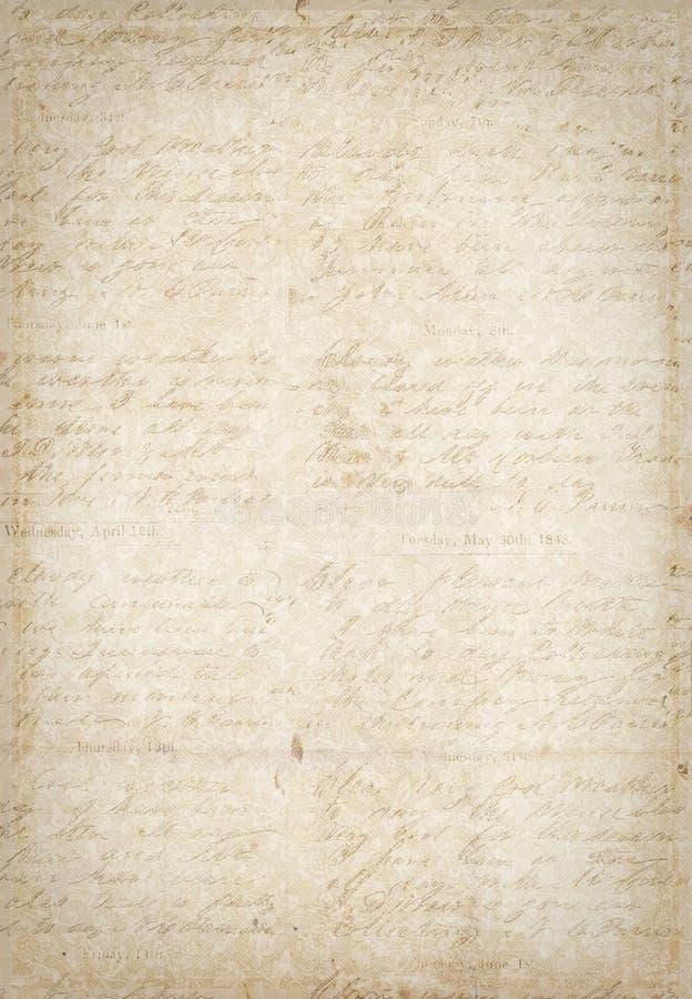 Papel textured vendimia antigua con la escritura ilustración del vector