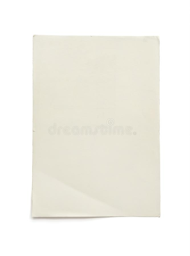 Papel vacío áspero A4 aislado en el fondo blanco con la trayectoria de recortes Fondo de papel de la textura imagenes de archivo