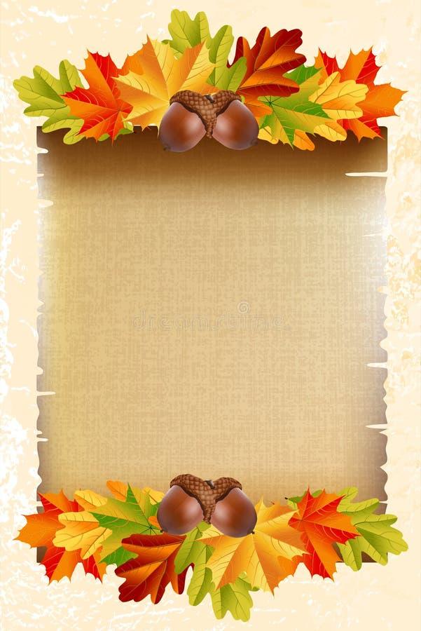 Papel vazio com folhas de outono ilustração stock