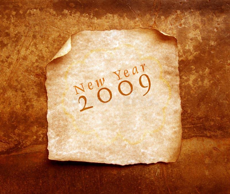 Papel velho com 2009 ilustração do vetor