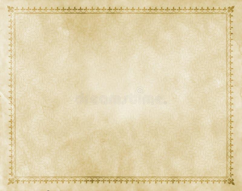 Papel velho com beira decorativa do vintage foto de stock