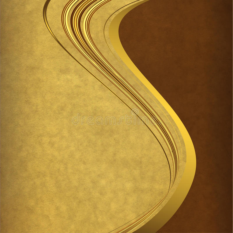 Papel velho com linhas douradas ilustração do vetor