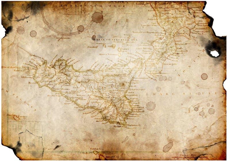 Papel velho com mapa do tesouro fotos de stock royalty free