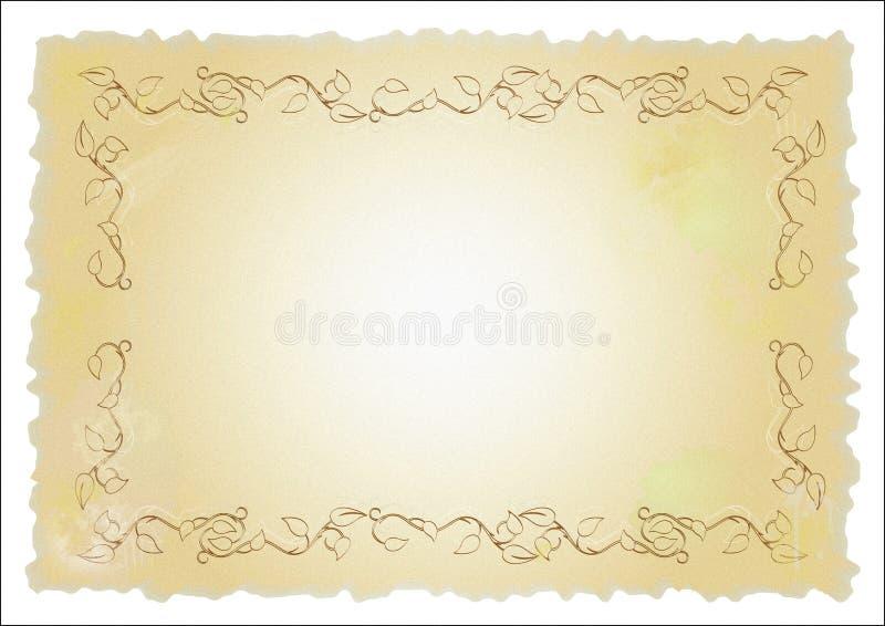 Papel velho com projeto floral ilustração do vetor