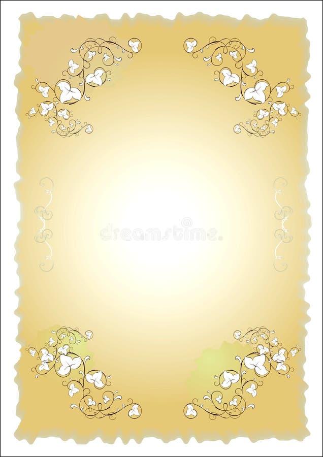 Papel velho com projeto floral ilustração royalty free