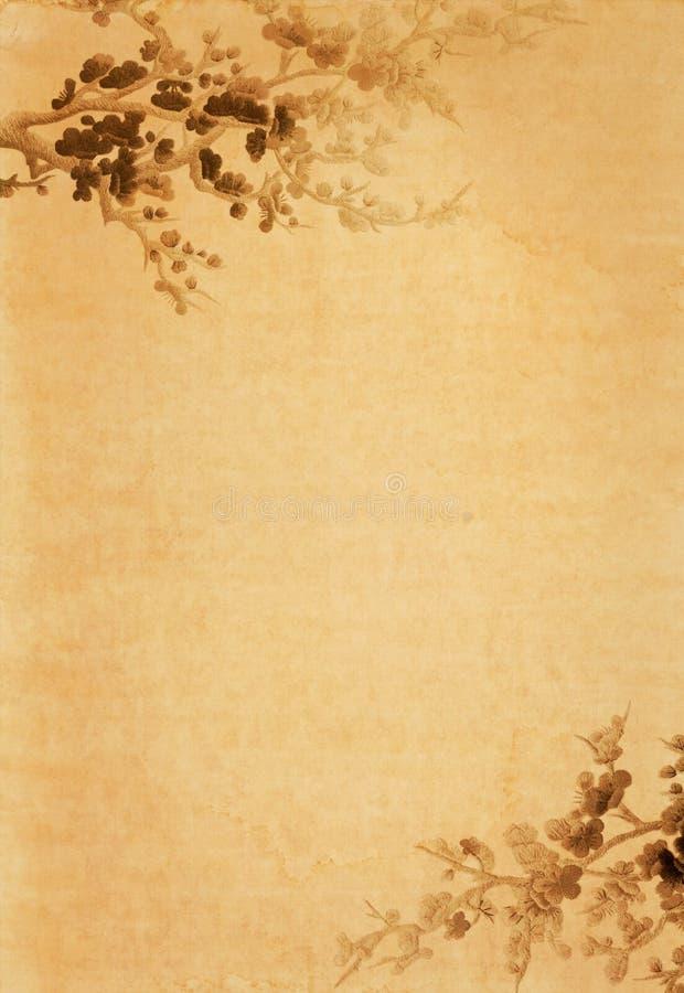 Papel velho com projeto floral fotografia de stock