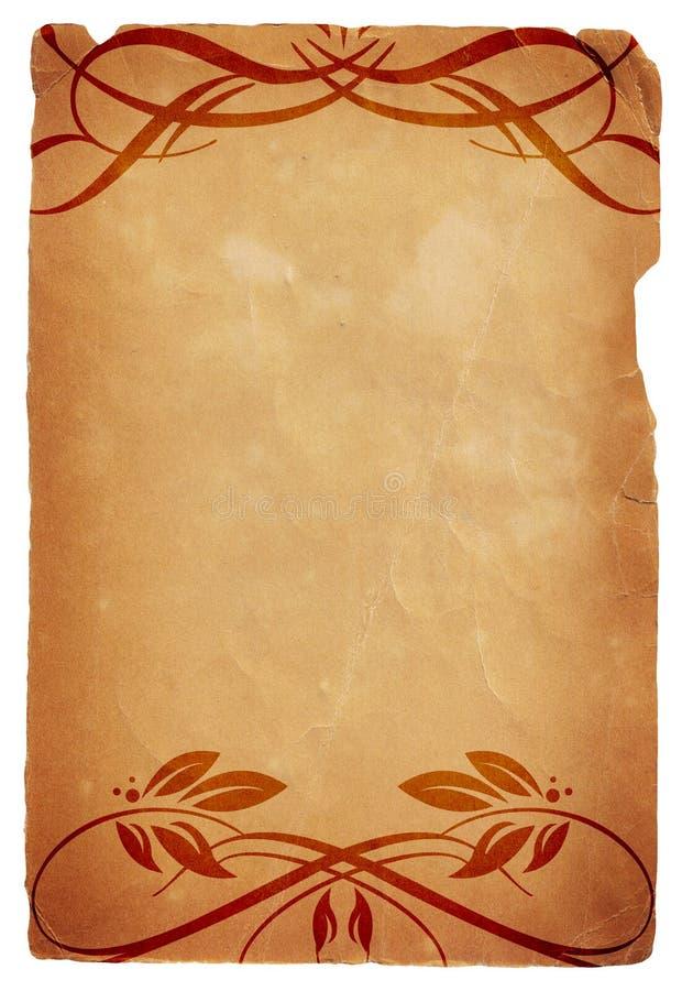 Papel velho com projetos florais caligráficos ilustração do vetor