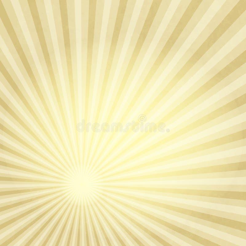 Papel velho com raios do ouro ilustração do vetor
