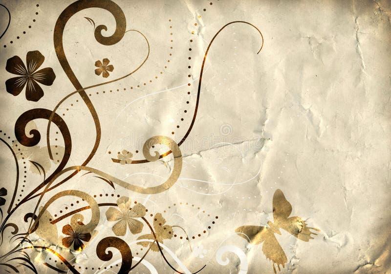 Papel velho com teste padrão floral ilustração stock