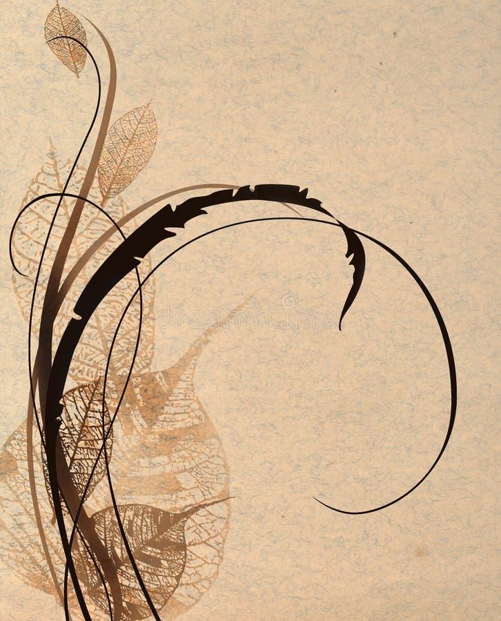 Papel velho com teste padrão floral ilustração do vetor