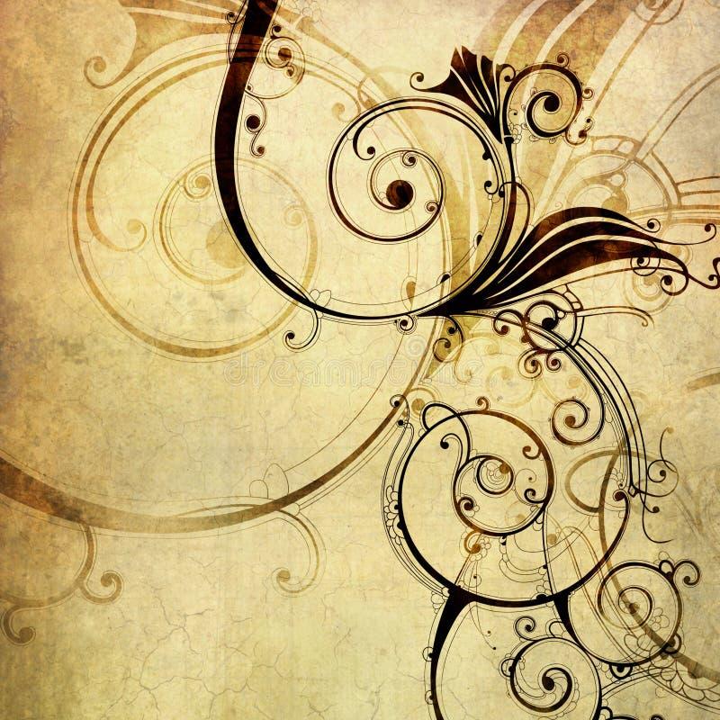 Papel velho com teste padrão floral ilustração royalty free
