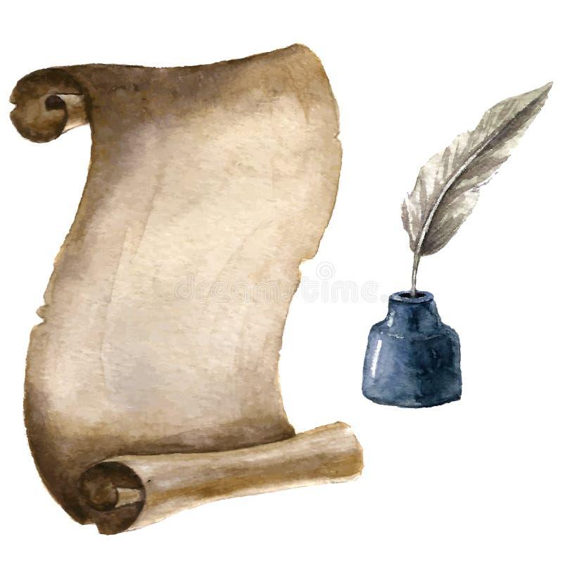 Papel velho do rolo com pena e tinta ilustração do vetor