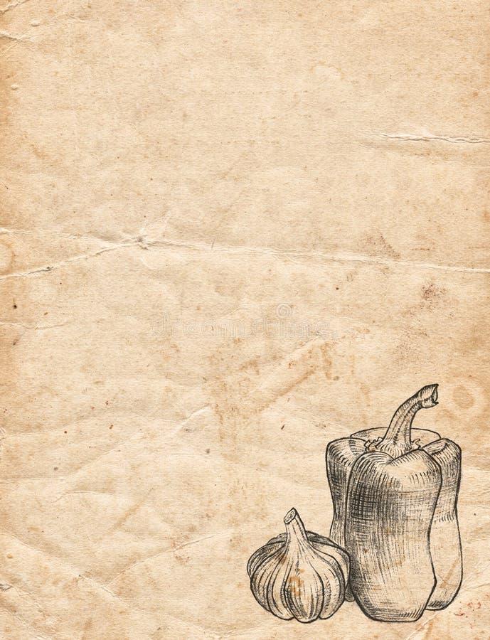 Papel velho do vintage com pimenta e alho Backgr do menu do restaurante ilustração stock