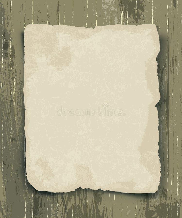 Papel velho na madeira ilustração stock