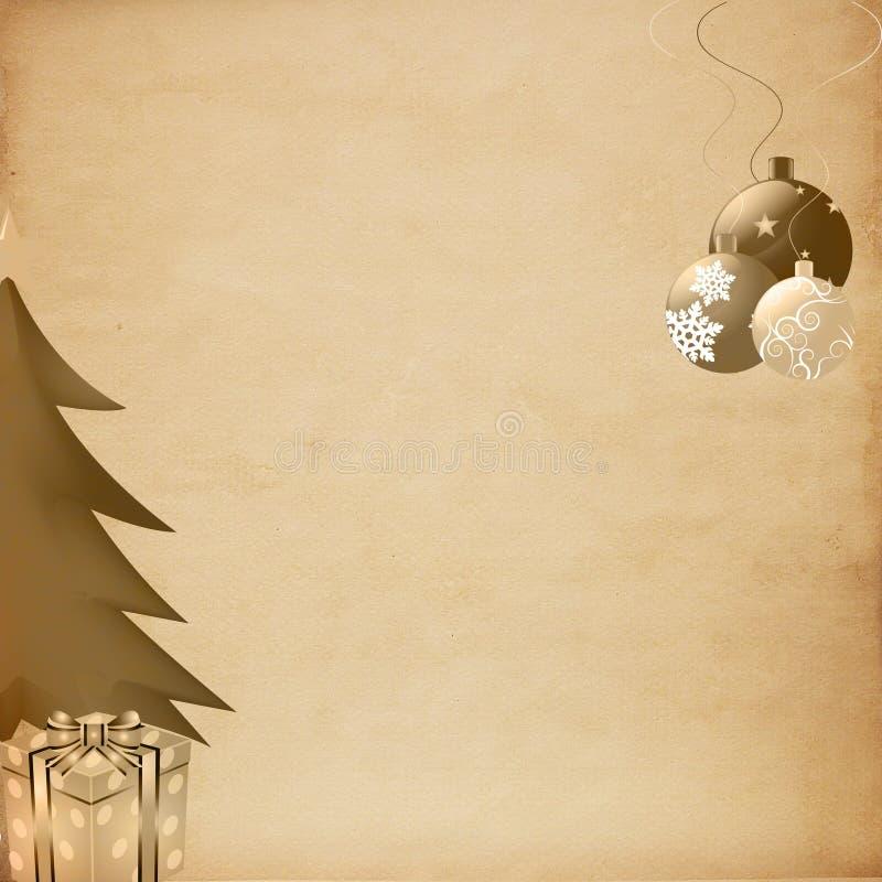 Papel velho no fundo do Natal ilustração stock