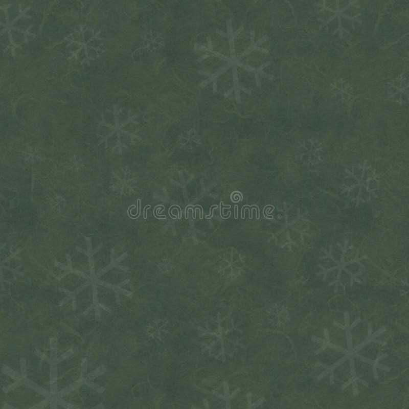 Papel verde com flocos de neve imagem de stock
