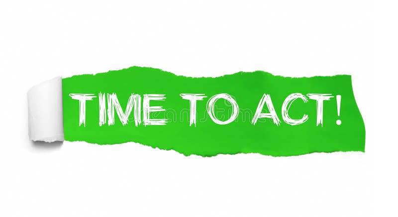 Papel verde rasgado que revela o momento de palavras de atuar fotografia de stock royalty free