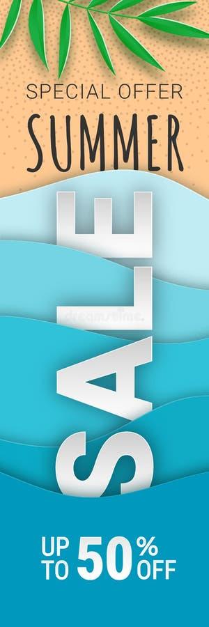 Papel vertical de la bandera de la venta del verano stock de ilustración