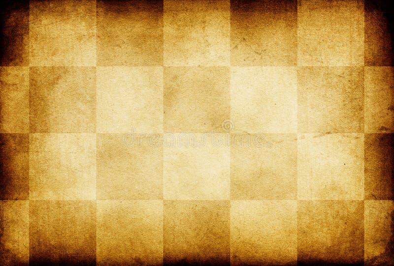 Papel viejo adornado ajedrez de la vendimia de Grunge. stock de ilustración