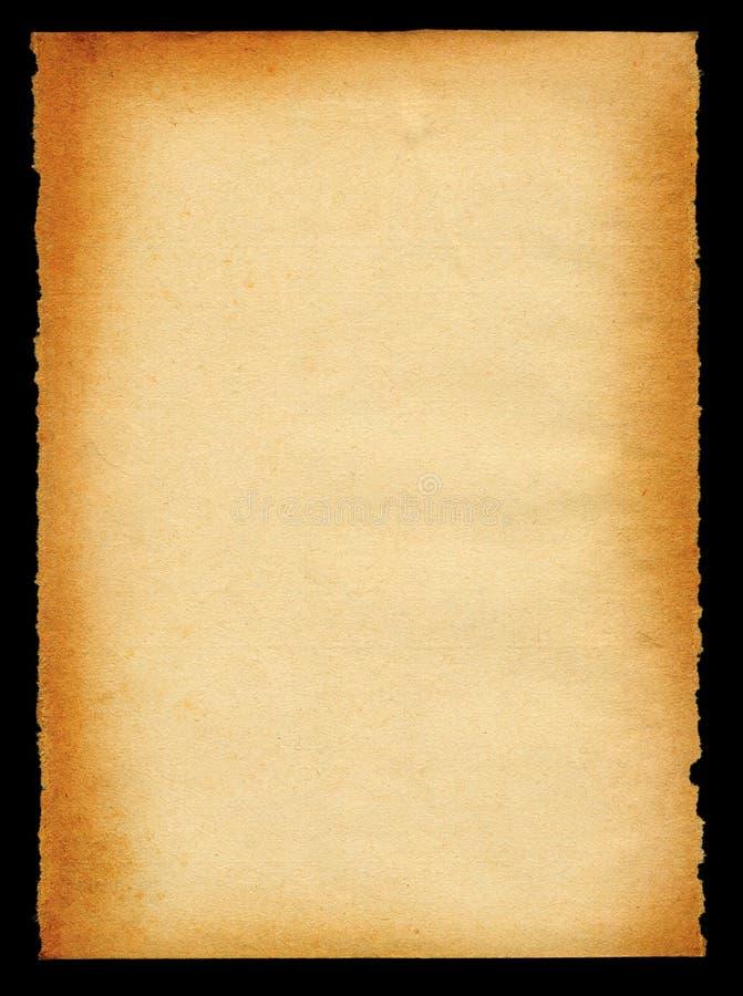 Papel viejo amarilleado en los bordes fotografía de archivo libre de regalías