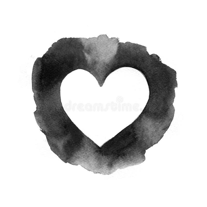 Papel viejo arrugado con el fondo negro hecho a mano del corazón stock de ilustración