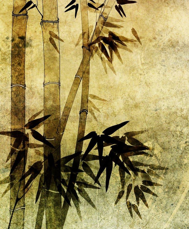 Papel viejo con el modelo de bambú foto de archivo libre de regalías