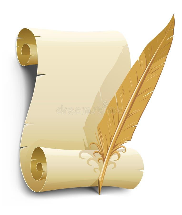 Papel viejo con la ilustración del vector de la pluma stock de ilustración