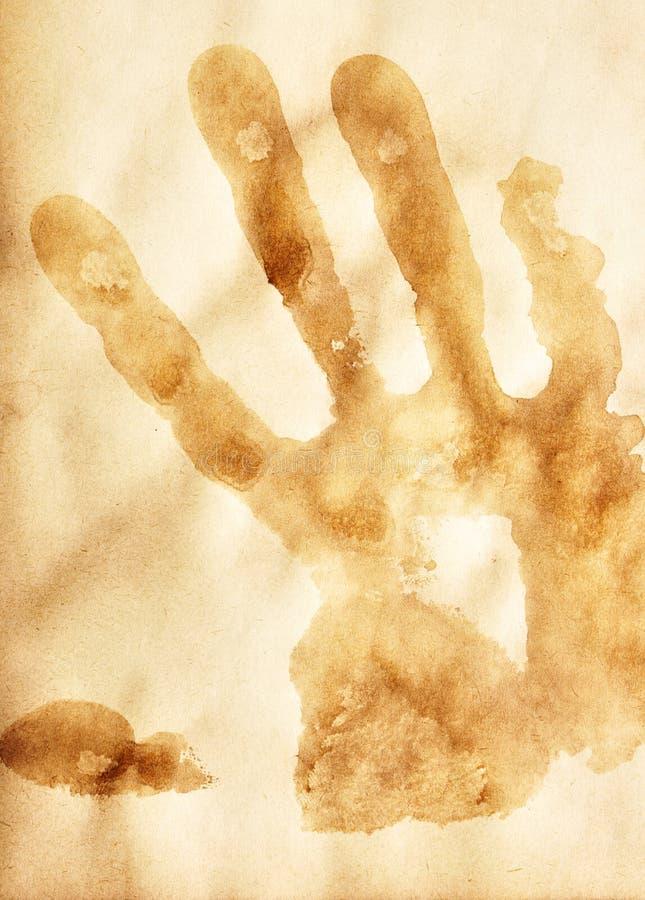 Papel viejo con la impresión humana de la palma imagen de archivo