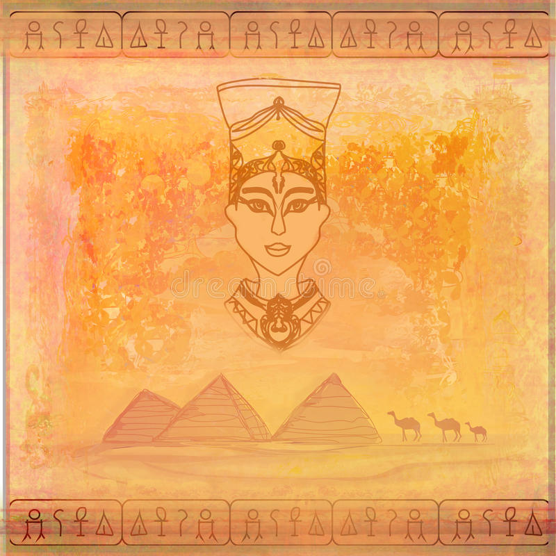 Papel viejo con la reina egipcia ilustración del vector