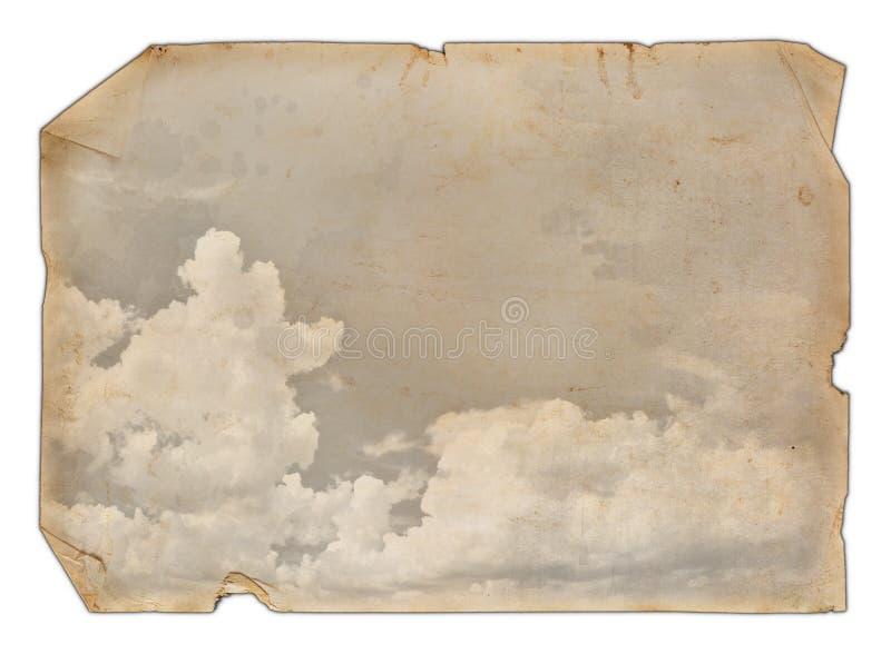 Papel viejo con nubes fotos de archivo