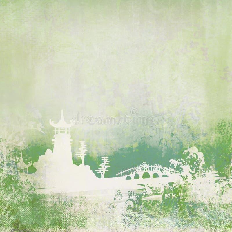 Papel viejo con paisaje asiático stock de ilustración