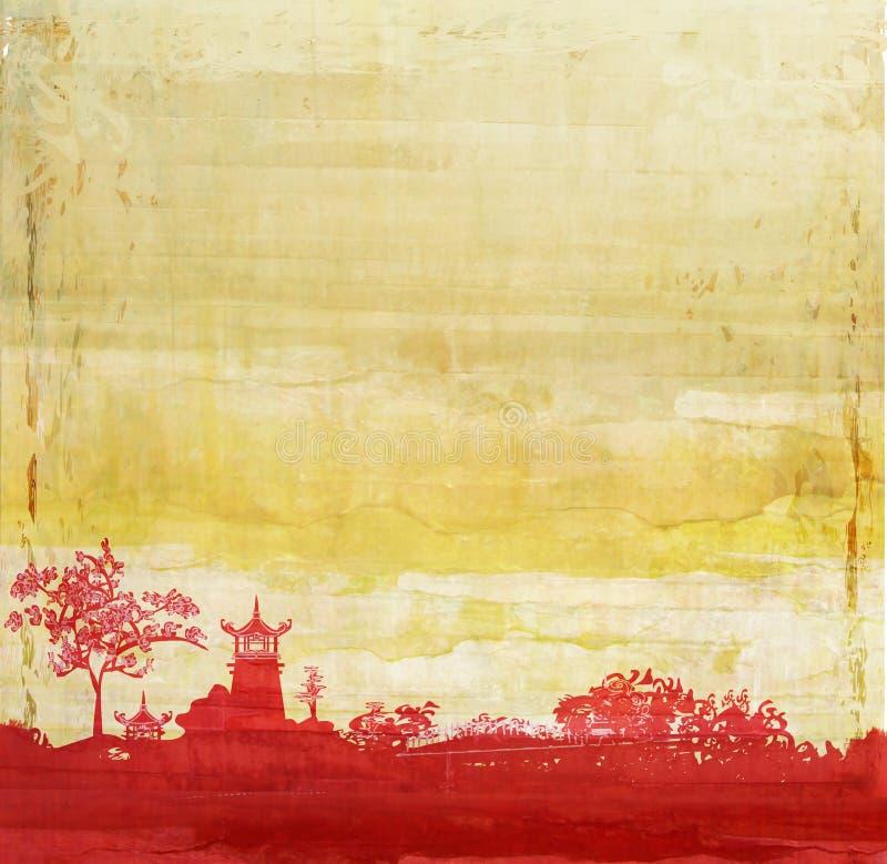 Papel viejo con paisaje asiático ilustración del vector