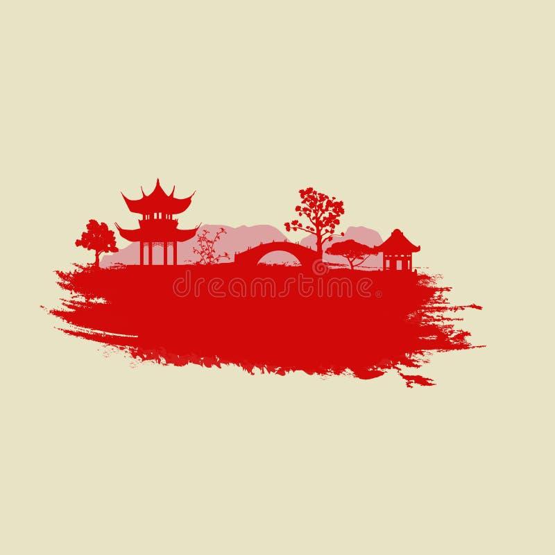Papel viejo con paisaje asiático libre illustration